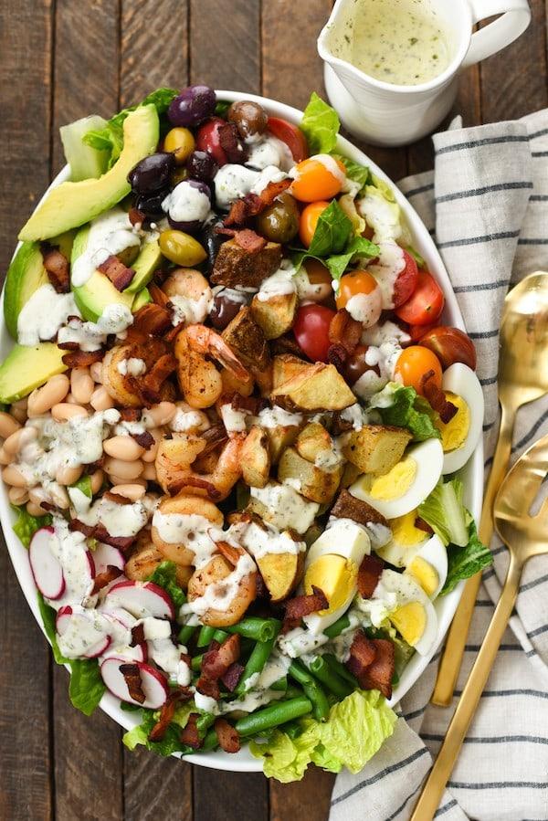 Mega Chopped Salad with Shrimp Roasted Potatoes