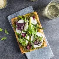 Pistachio Pesto & Asparagus Flatbread Pizza