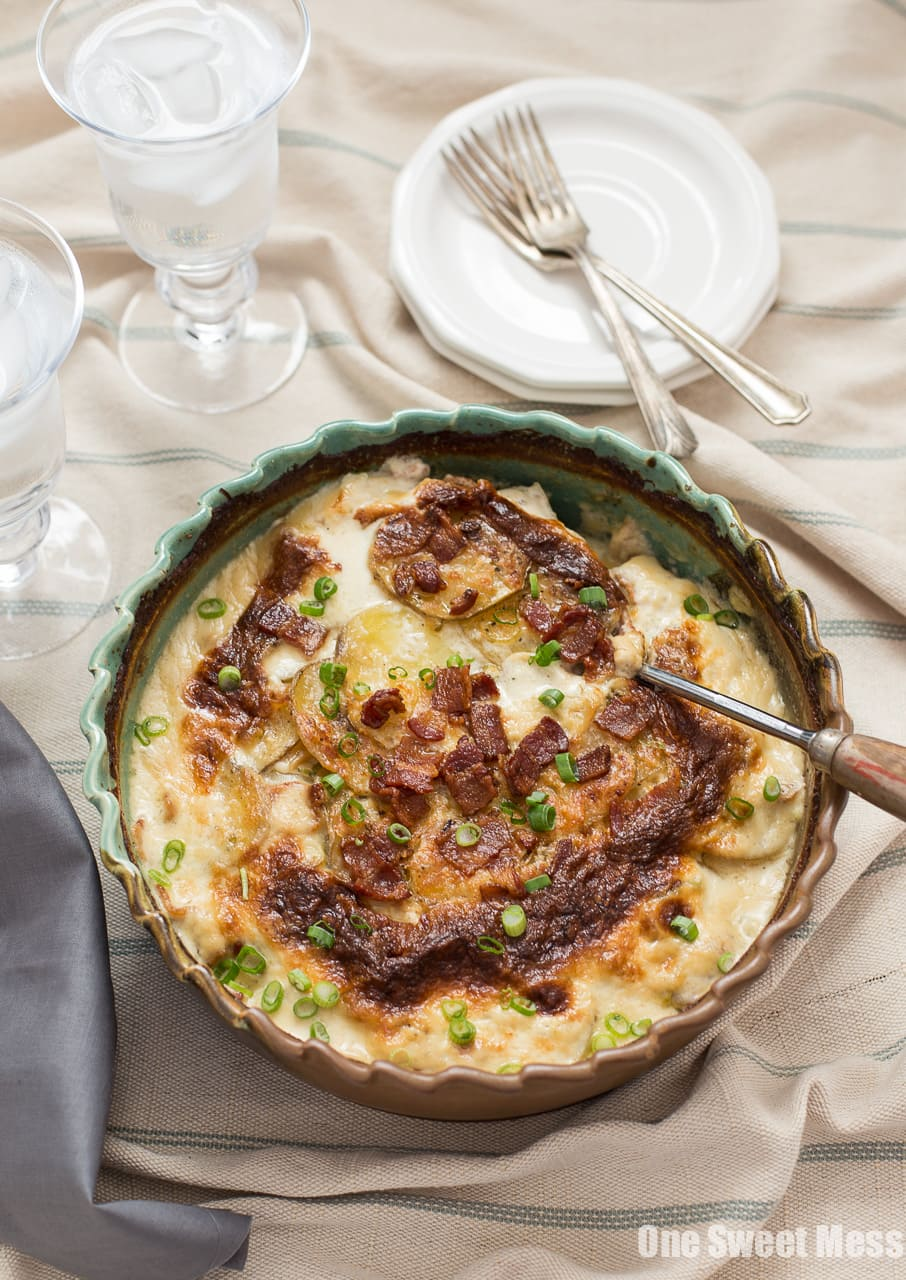 Roasted Garlic, Bacon & Chive Au Gratin Potatoes