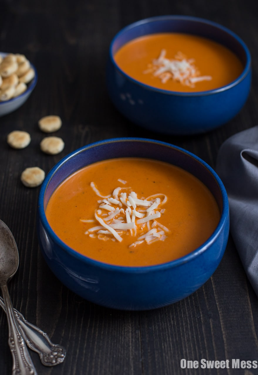 Roasted Red Pepper Smoked Gouda Soup