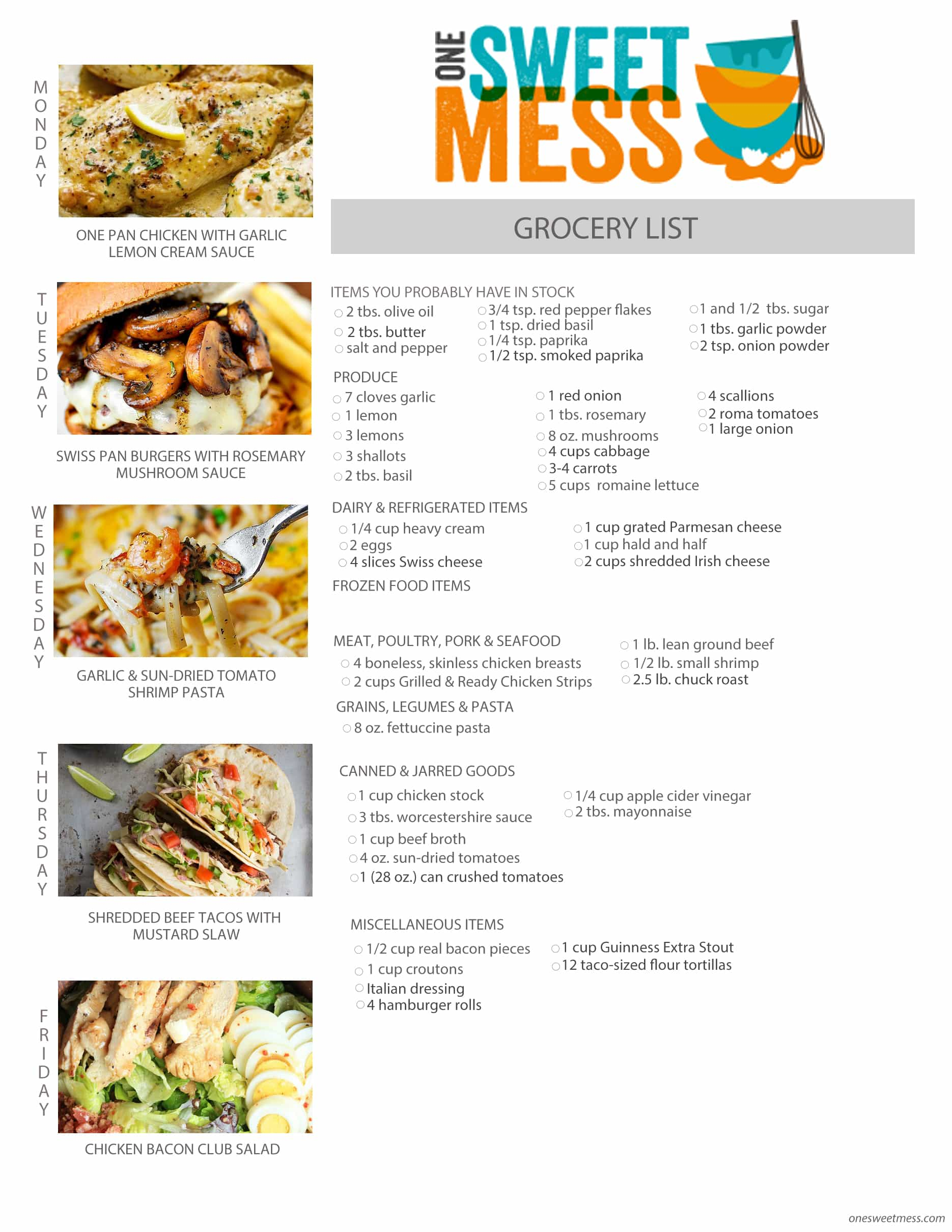 Week of March 14th, 2016 Weekly Meal Plan + Printable Grocery List
