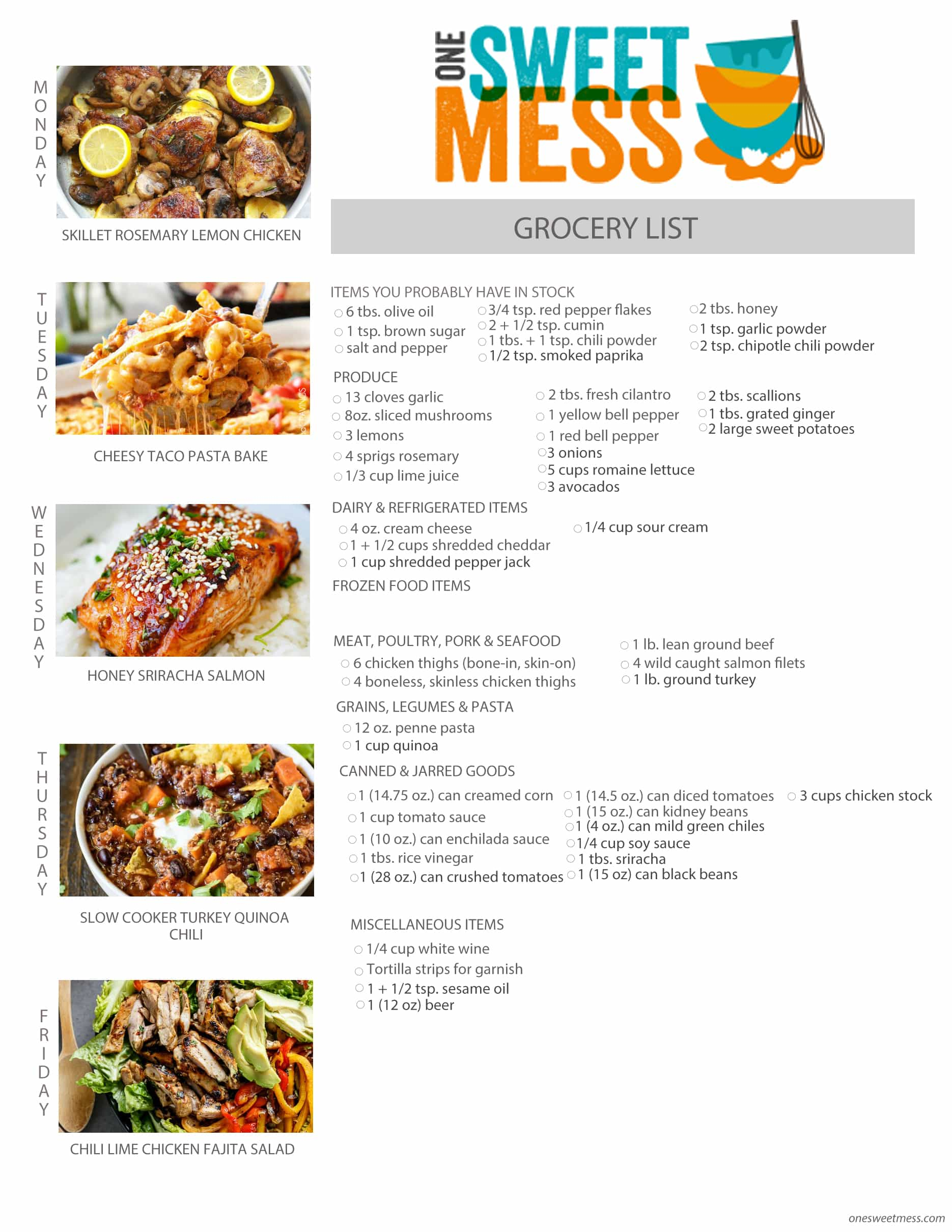 Week of March 7th, 2016 Weekly Meal Plan + Printable Grocery List