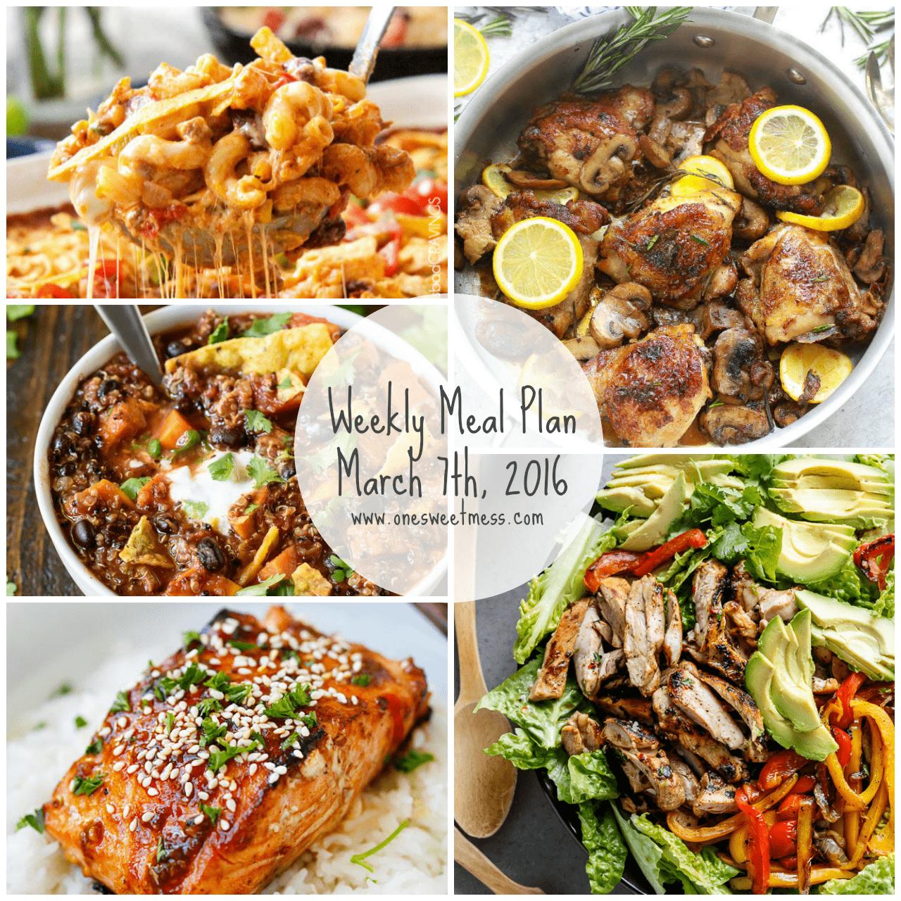 Week of March 7th, 2016 Weekly Meal Plan + Printable Grocery List
