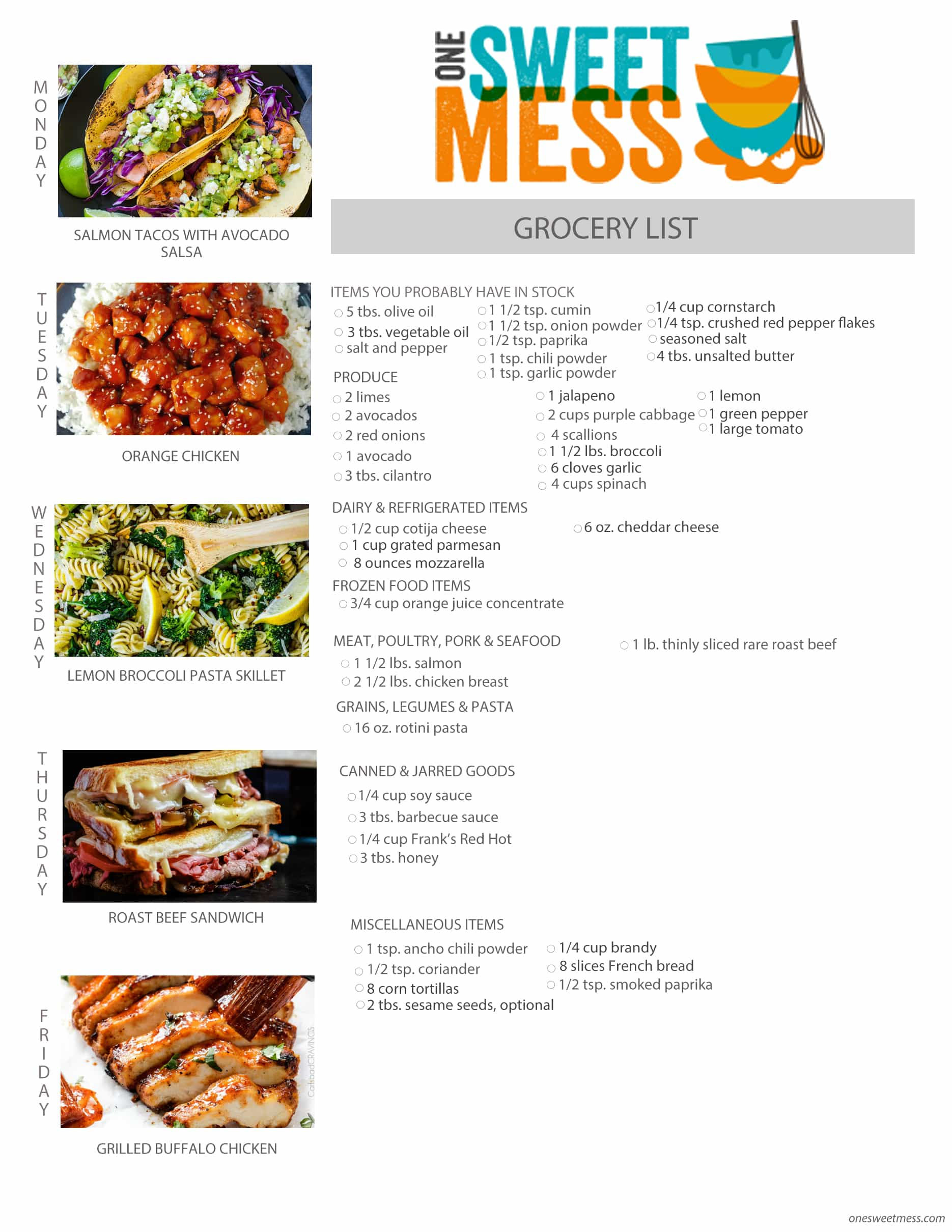 Week of April 11th, 2016 Weekly Meal Plan + Printable Grocery List