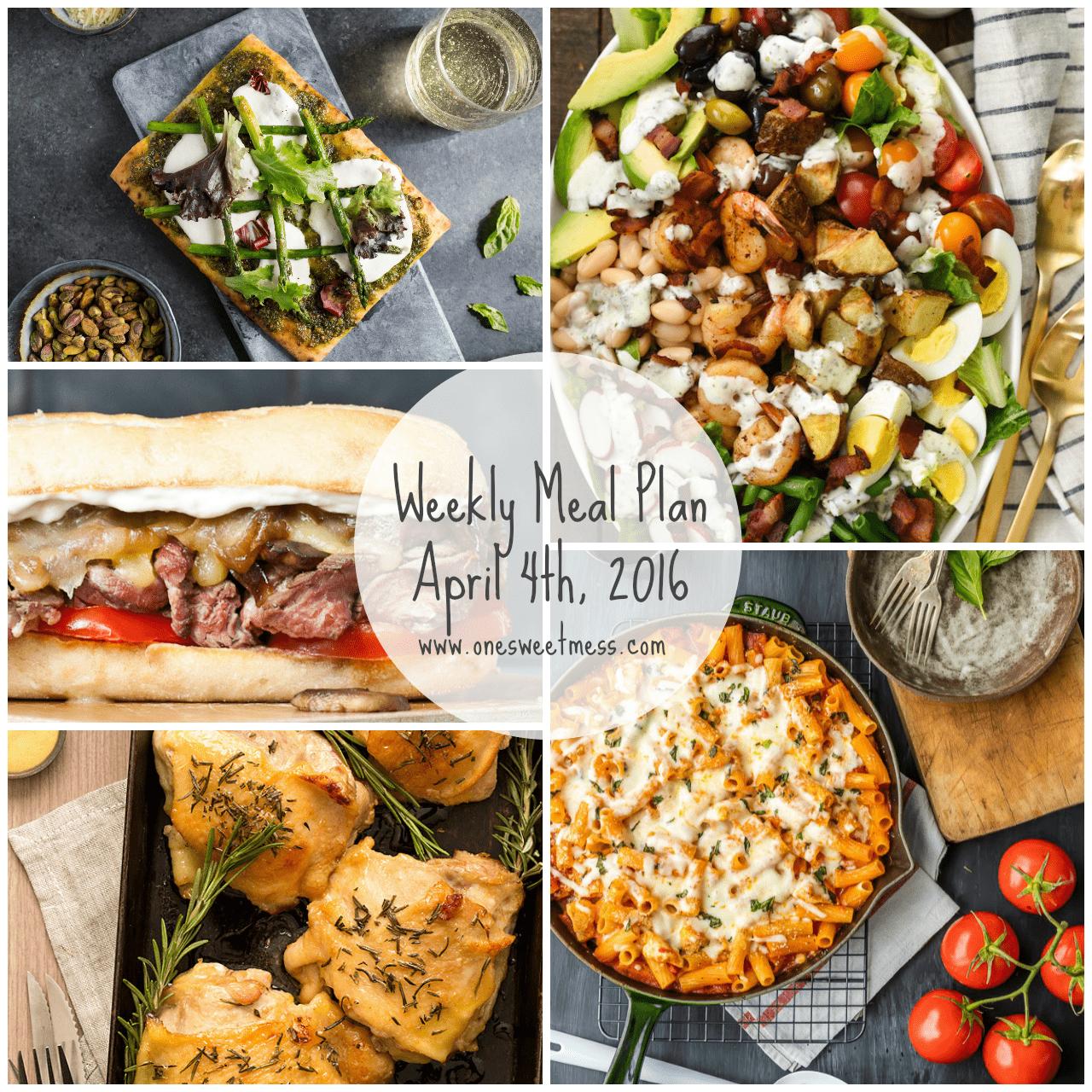 Week of April 4th, 2016 Weekly Meal Plan + Printable Grocery List