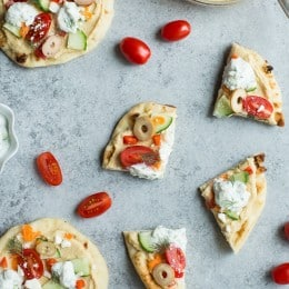 Veggie-Loaded Flatbread Pizza with Hummus and Tzatziki (No-Bake)