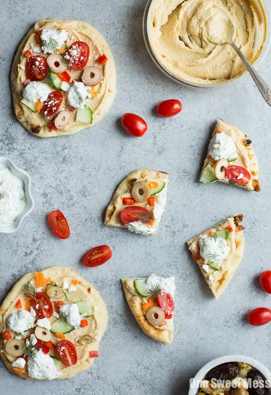 Veggie-Loaded Flatbread Pizza with Hummus and Tzatziki (No-Bake)
