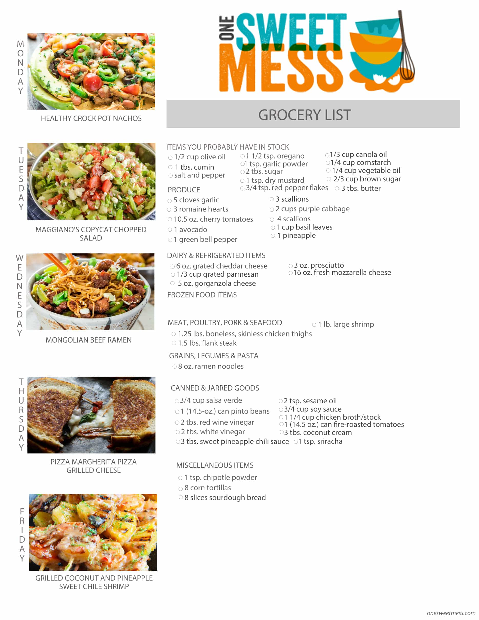 Week of May 9th, 2016 Weekly Meal Plan + Printable Grocery List