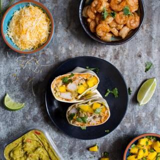 Shrimp Burritos with Mango Salsa