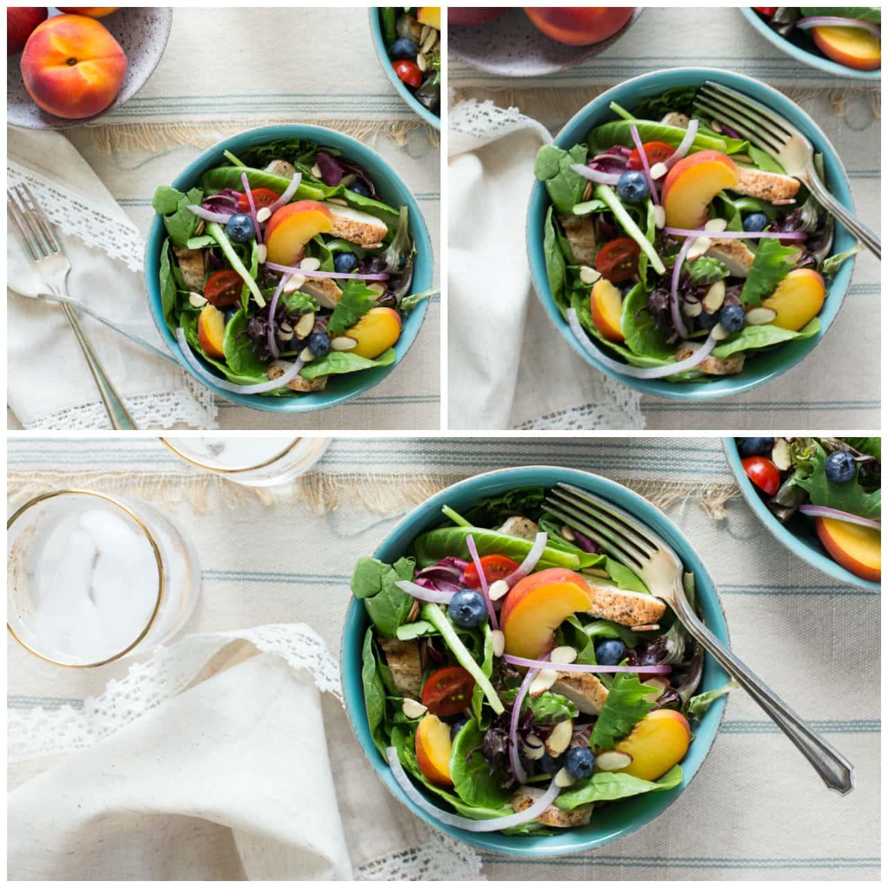 Grilled Chicken & Peach Salad with Honey Peach Vinaigrette