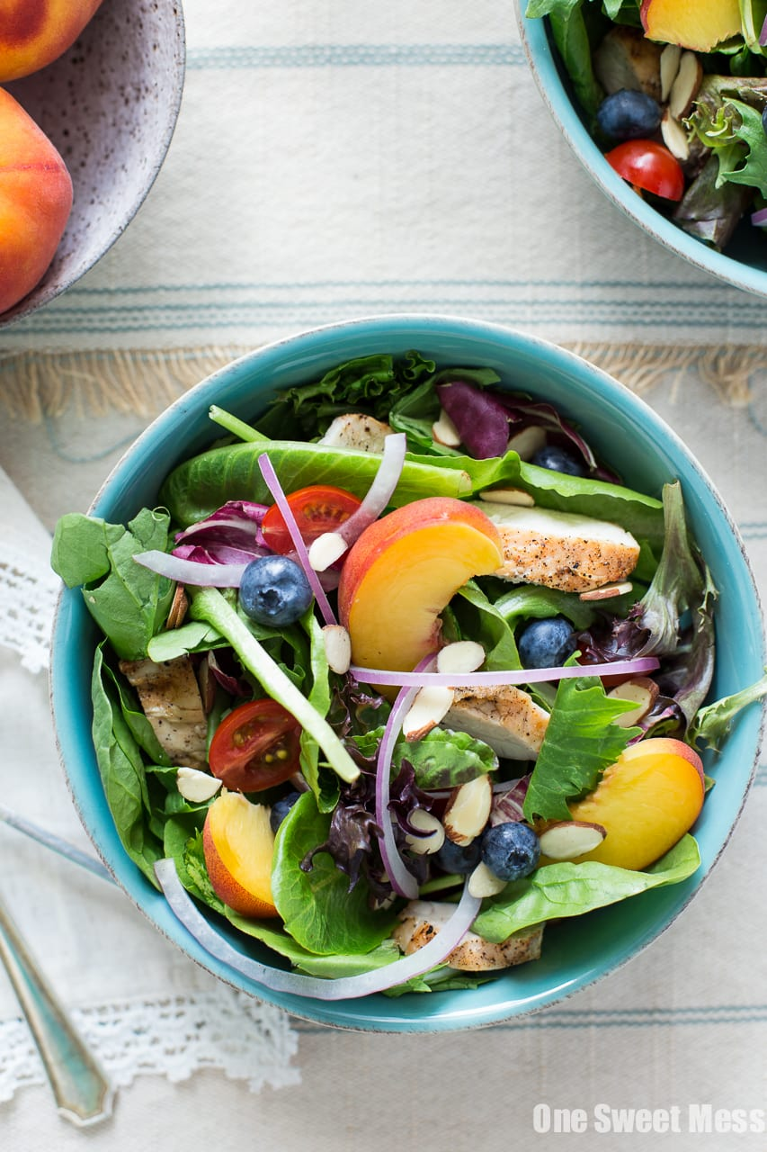 Grilled Chicken & Peach Salad with Honey Peach Vinaigrette