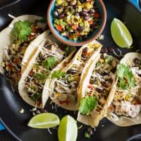 Mesquite Grilled Chicken Tacos with Honey Hot Sauce Chipotle Crema
