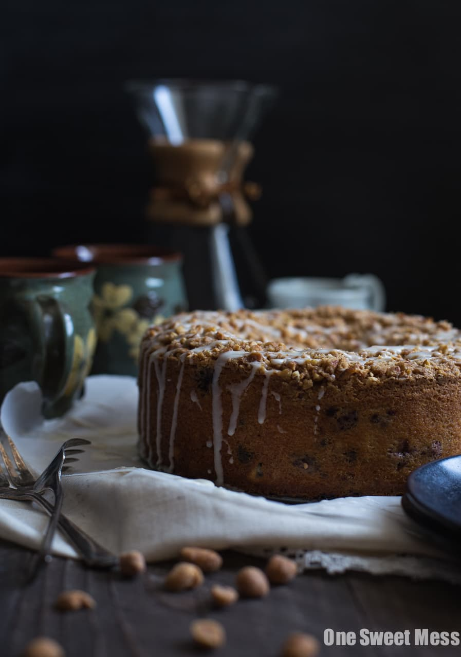 Blueberry Chocolate Chip Cake with Honey Roasted Peanut Streusel