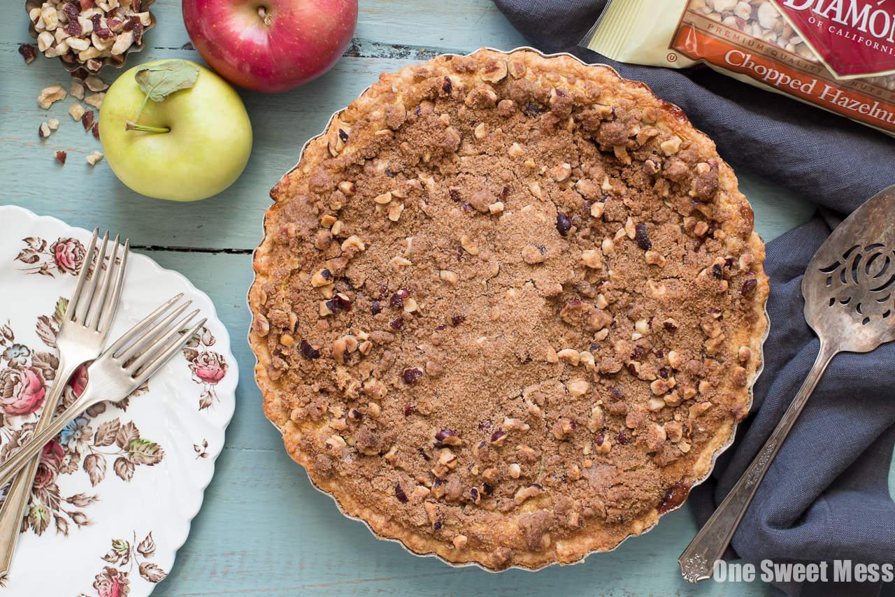 Apple Custard Pie with Hazelnut Streusel and Whiskey Cinnamon Whipped Cream