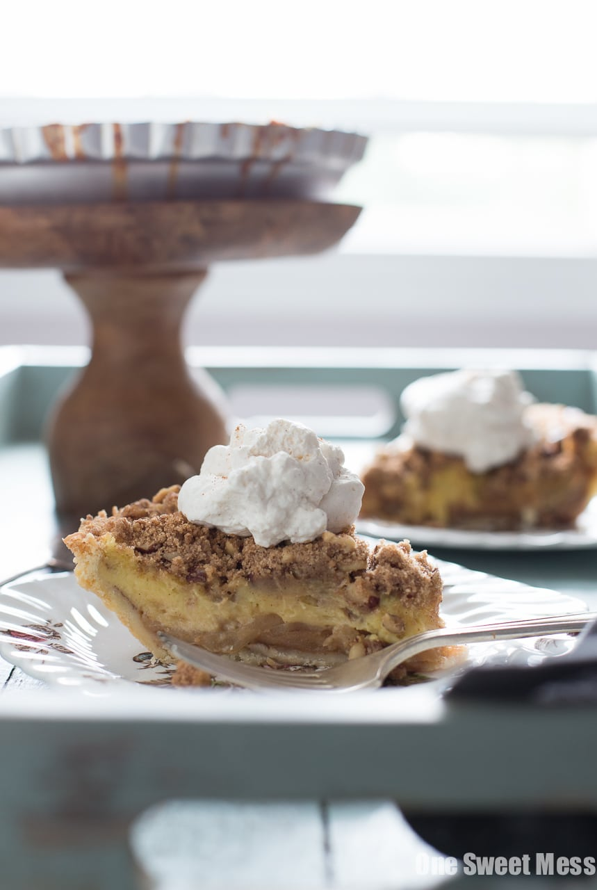 Apple Custard Pie with Hazelnut Streusel and Whiskey Cinnamon Whipped Cream