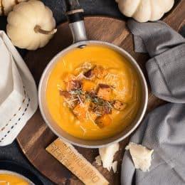Roasted Butternut Squash & Sweet Potato Soup