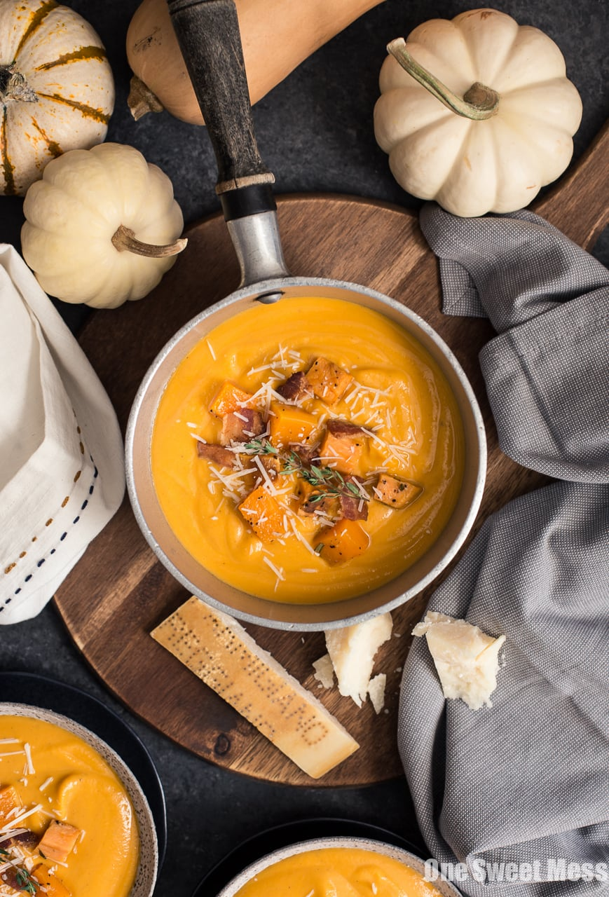 Roasted Butternut Squash & Sweet Potato Soup