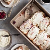Cranberry Orange Sweet Rolls with White Chocolate Cream Cheese Frosting