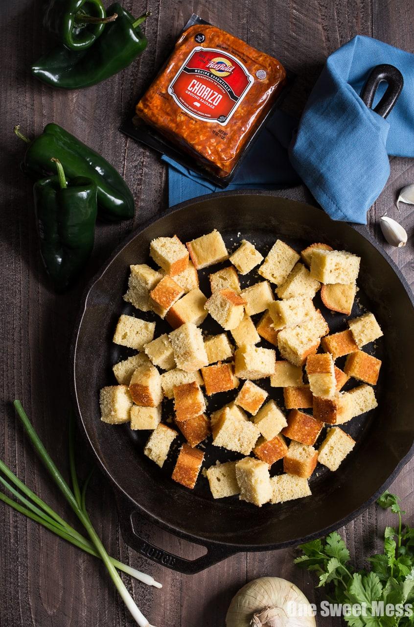 Roasted Poblano Chorizo Cornbread Stuffing