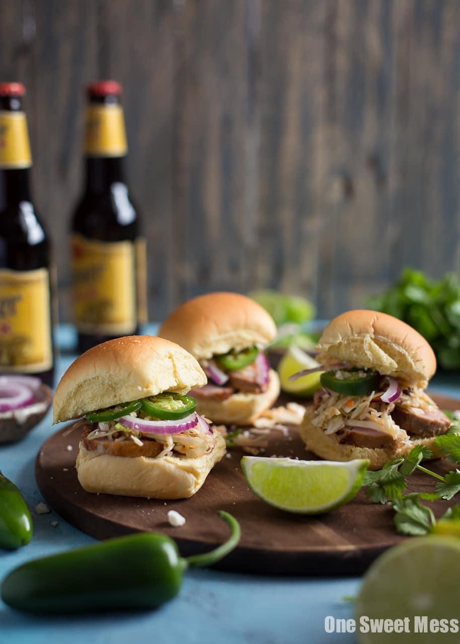 Chipotle Pork Sliders with Honey Lime Slaw