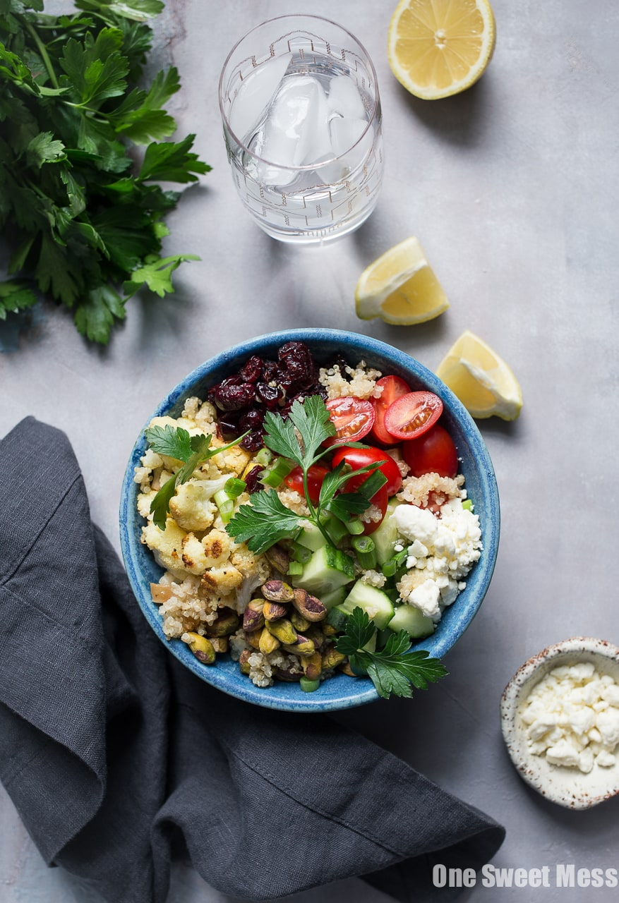 Roasted Cauliflower Quinoa Salad with Lemon Tahini Dressing