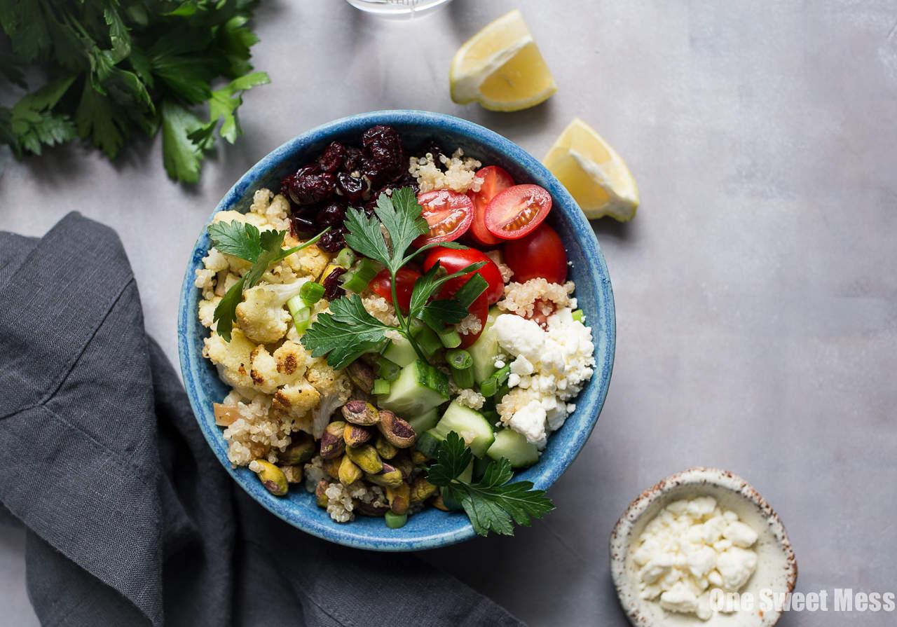 Roasted Cauliflower Quinoa Salad with Lemon Tahini Dressing