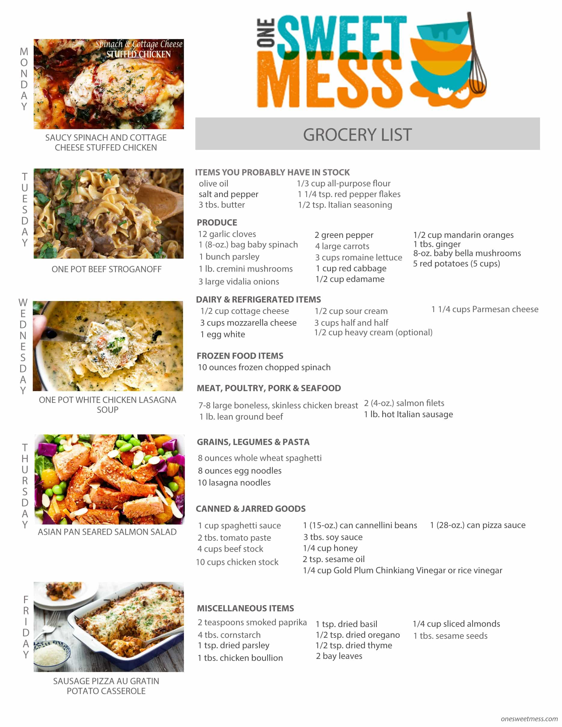 Week of January 16th, 2017 Weekly Meal Plan + Printable Grocery List