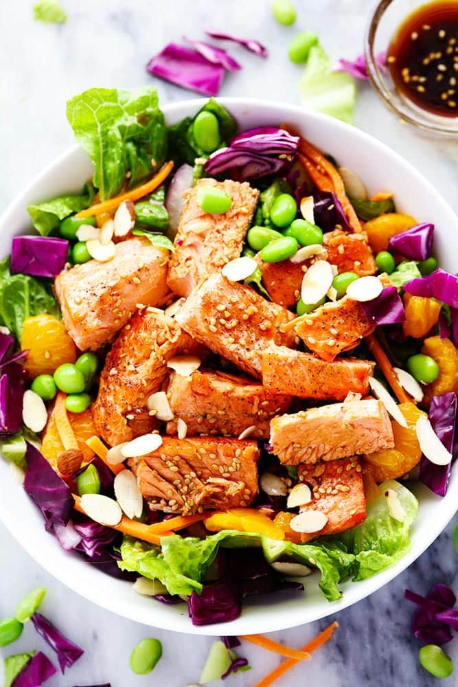 Asian Pan Seared Salmon Salad