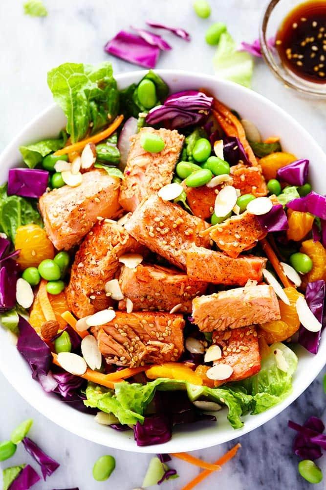 Asian Pan Seared Salmon Salad