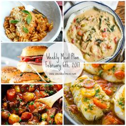 Week of February 6th, 2017 Weekly Meal Plan + Printable Grocery List
