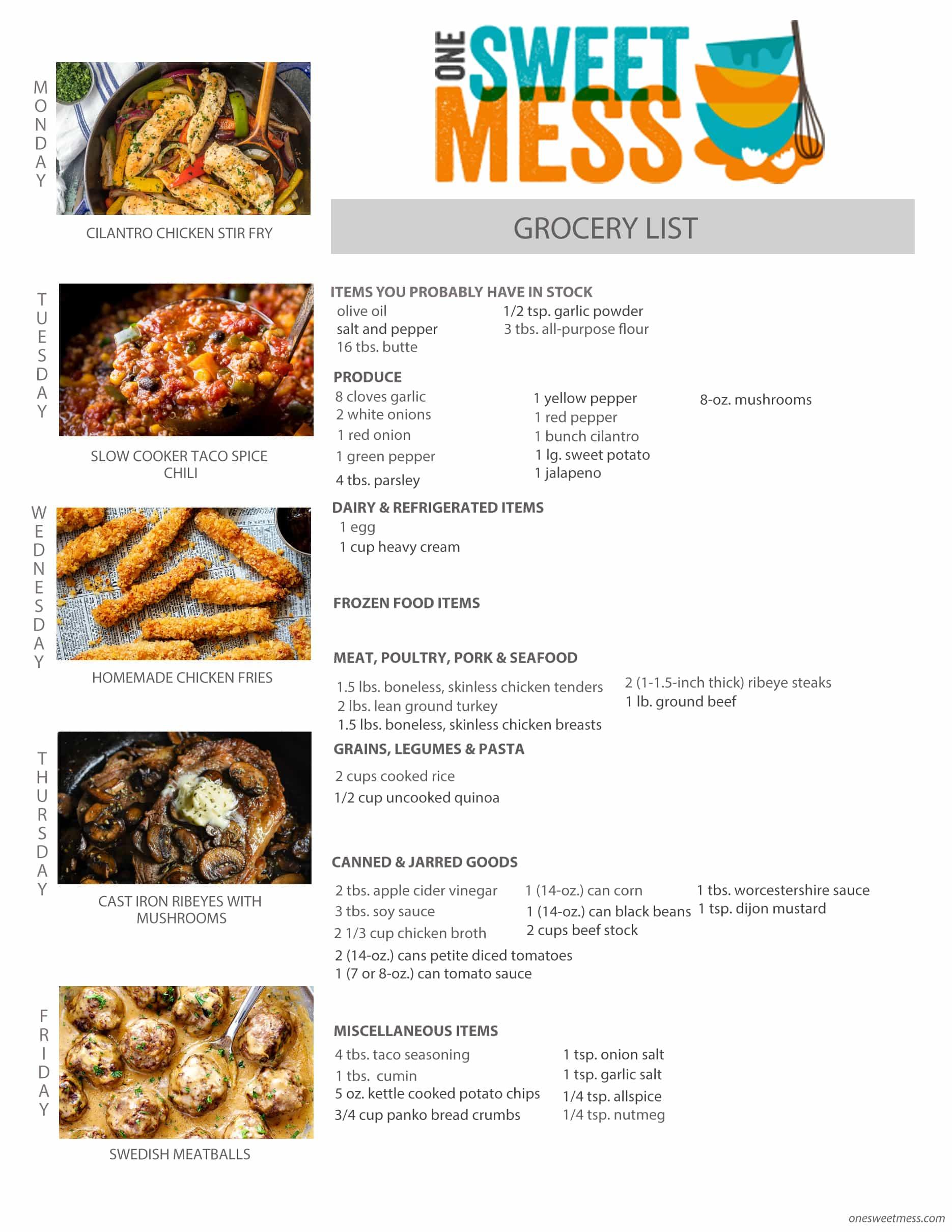 Week of February 20th, 2017 Weekly Meal Plan + Printable Grocery List