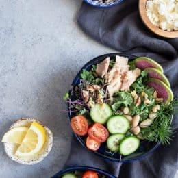 Kale, White Bean + Tuna Salad with Lemon Vinaigrette