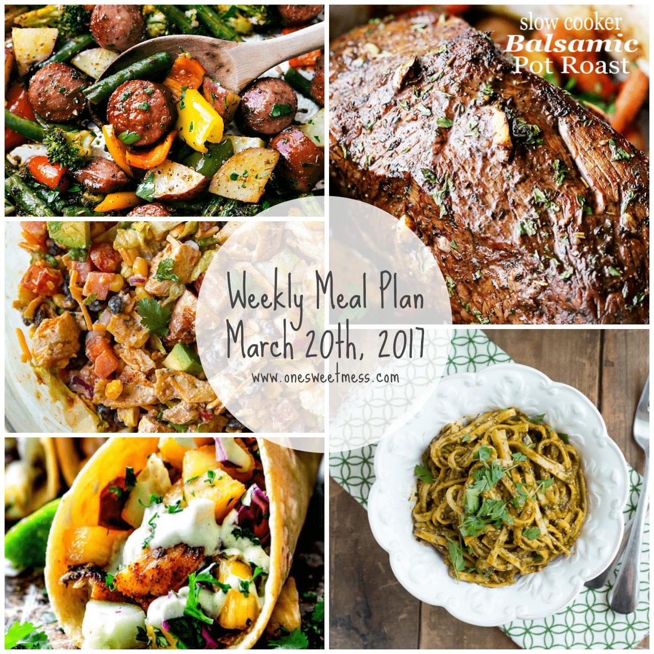 Week of March 20th, 2017 Weekly Meal Plan + Printable Grocery List