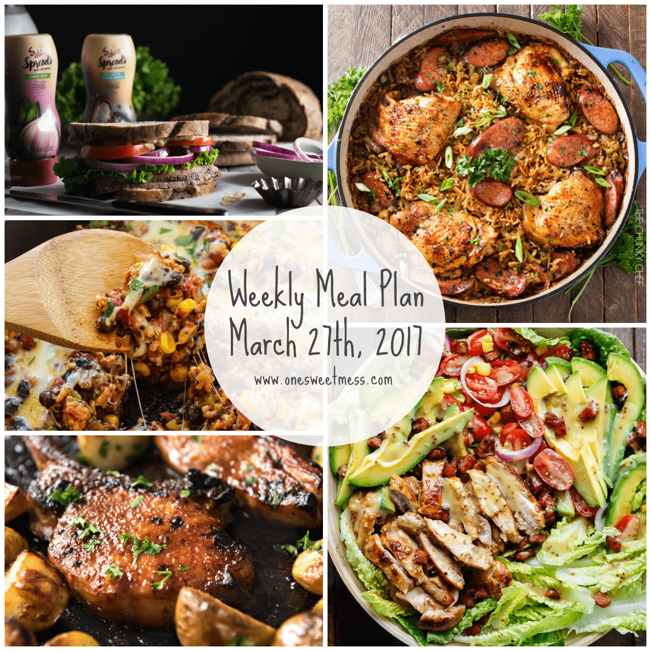 Week of March 27th, 2017 Weekly Meal Plan + Printable Grocery List