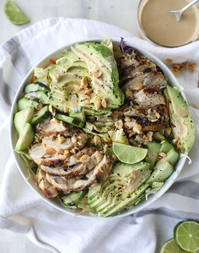 Chicken Avocado Salad with Peanut Dressing