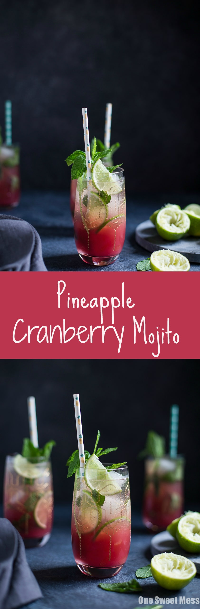 Pineapple Cranberry Mojito: This refreshing + fruity cocktail is perfect for summer sipping.