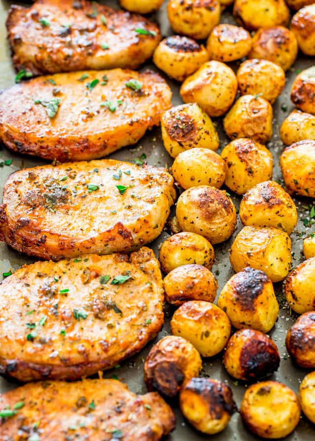 Sheet Pan Ranch Pork Chops and Potatoes
