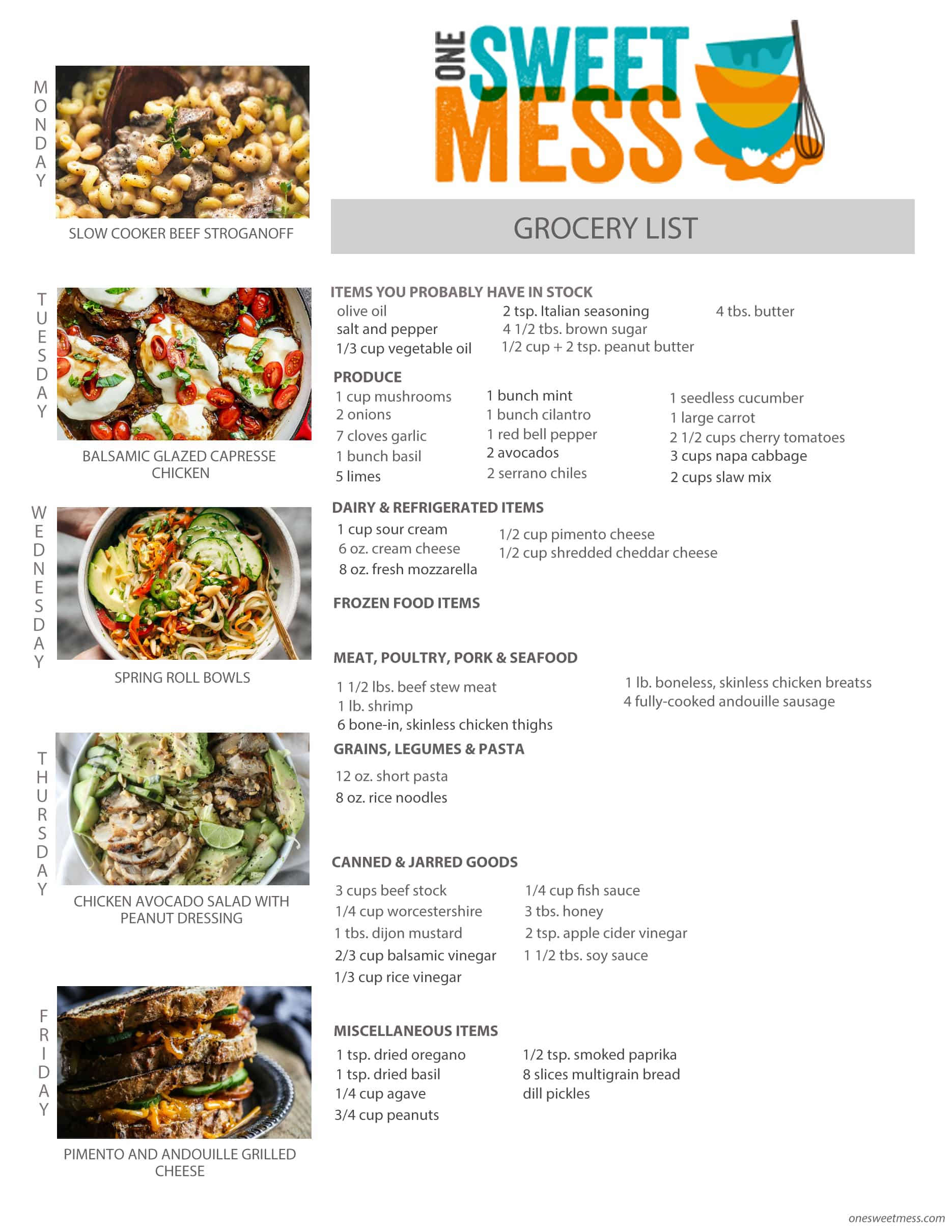 Week of April 10th, 2017 Weekly Meal Plan + Printable Grocery List
