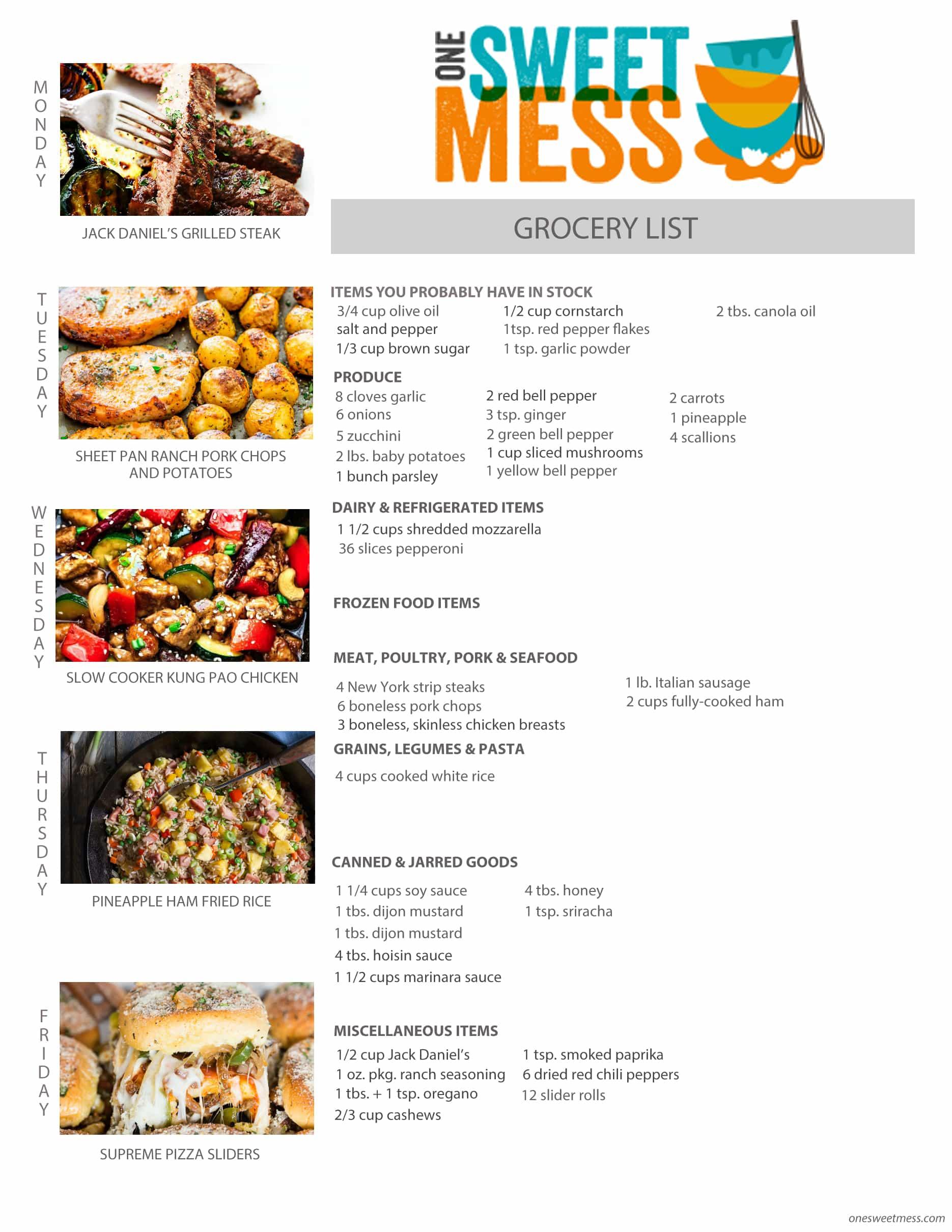Week of April 24th, 2017 Weekly Meal Plan + Printable Grocery List