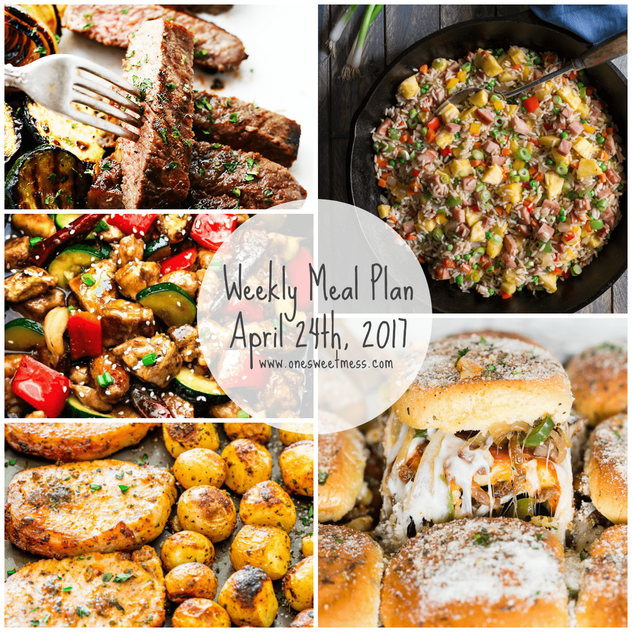 Week of April 24th, 2017 Weekly Meal Plan + Printable Grocery List