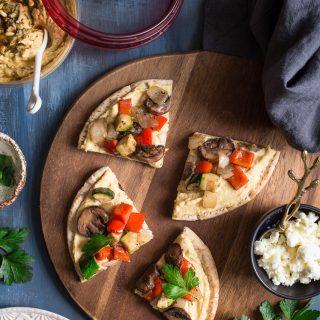 Mediterranean Grilled Veggie Pita Pizza