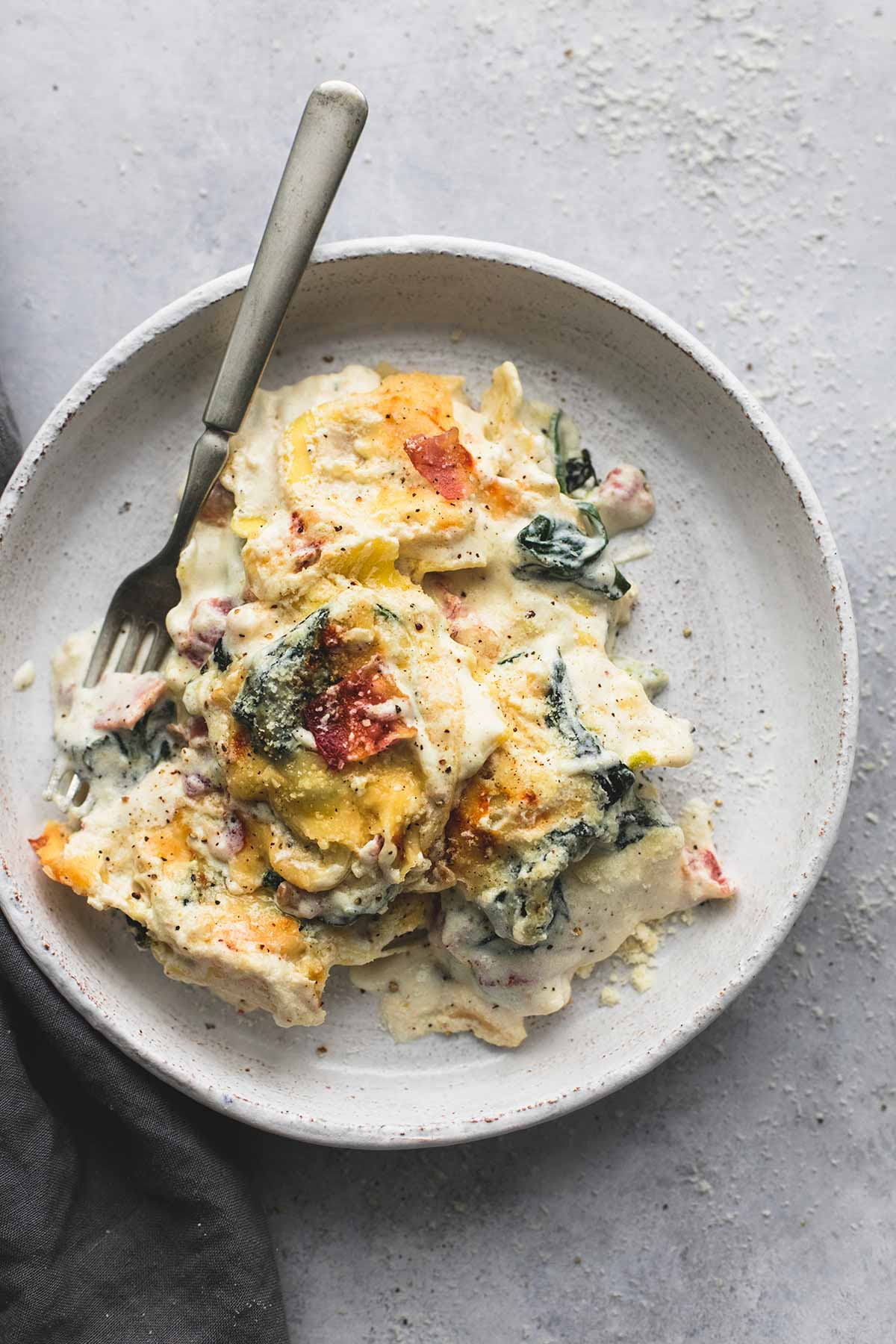 Ravioli Alfredo Bake with Spinach and Bacon
