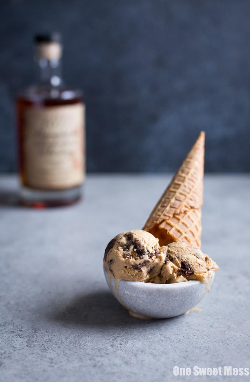 Salted Caramel Bourbon Fudge Brownie Ice Cream