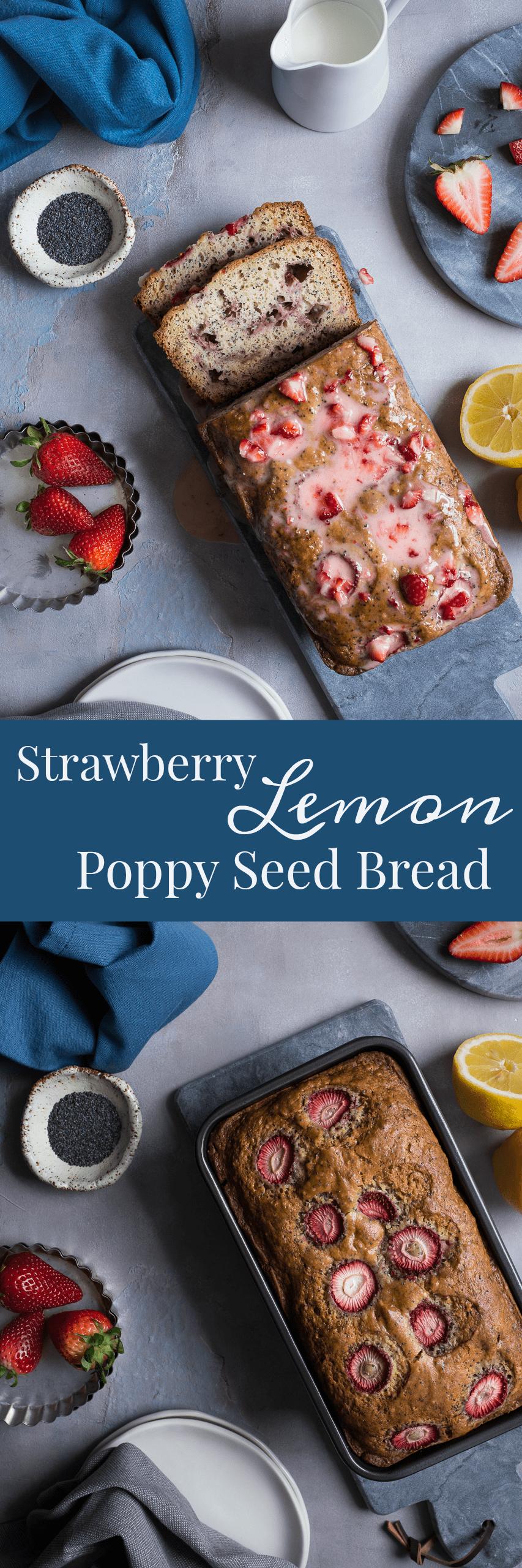 Strawberry Lemon Poppy Seed Bread with Strawberry Glaze