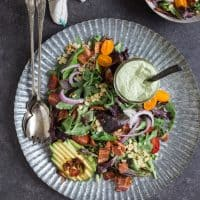 BLT Salad with Grilled Corn and Avocado Ranch Dressing