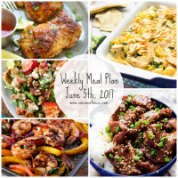 Week of June 5th, 2017 Weekly Meal Plan + Printable Grocery List