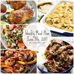 Week of June 5th, 2017 Weekly Meal Plan + Printable Grocery List
