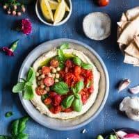 Basil Pesto Hummus with Roasted Cherry Tomatoes