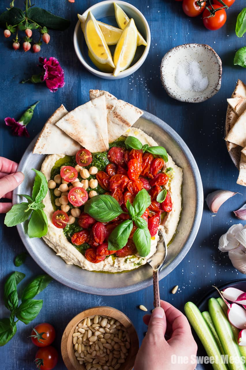 Basil Pesto Hummus with Roasted Cherry Tomatoes