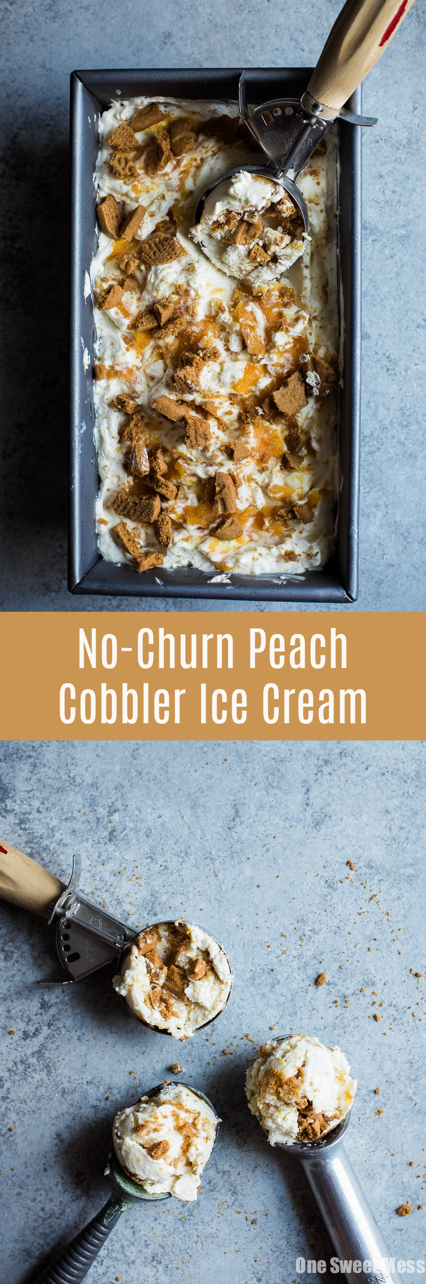 No-Churn Peach Cobbler Ice Cream: Layers of creamy vanilla ice cream, homemade peach bourbon compote, and crunchy biscoff cookies. No ice cream machine required for this easy summer treat!